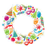 Festive Round Frame for Carnival, Party Circus Colorful Icons Stock Photos