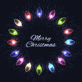 Festive round frame of colorful garlands, sequins Royalty Free Stock Image