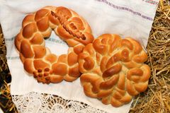 Festive round loaf of fresh bread Stock Image