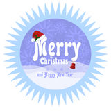 Festive round vector sticker with serrated edge in a flat style. Greeting inscription Christmas and New Year, decorated with red C. Hristmas hat and boots Stock Images