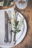 Festive rustic table setting Royalty Free Stock Image