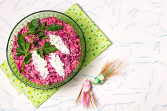 Festive salad with beets and eggs Royalty Free Stock Images