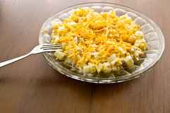 Festive salad with chicken breast, sweet corn, cheese and pineapple Royalty Free Stock Photos