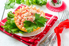Festive salad with grapefruit and crabmeat Royalty Free Stock Photography