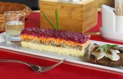 Festive salad  Herring under a fur coat  Stock Images