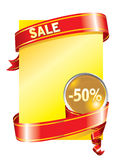 Festive sale background (). Festive sale 50 % background with a red ribbon Stock Images