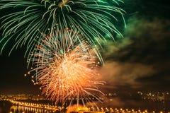 Festive salute on the Chernavsk Bridge in Voronezh Royalty Free Stock Images