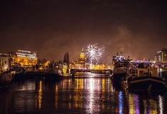 Festive salute of fireworks on New Year's night. On January 1, 2016 in Amsterdam - Netherland. Stock Image