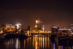 Festive salute of fireworks on New Year's night. On January 1, 2016 in Amsterdam - Netherland. Stock Photography