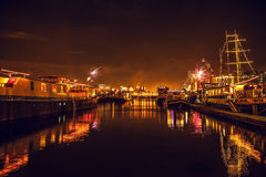 Festive salute of fireworks on New Year's night. On January 1, 2016 in Amsterdam - Netherland. Stock Images