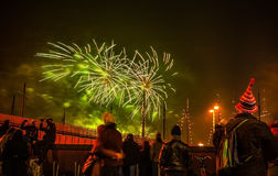 Festive salute of fireworks on New Year's night. On January 1, 2016 in Amsterdam - Netherland. Stock Photo