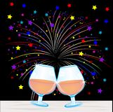 Festive salute and goblets with wine. Beautiful festive salute and two goblets with wine Stock Photo