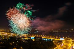 Festive salute in honor of City Day of Voronezh in 2017 Stock Image