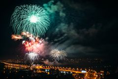 Festive salute  in honor of City Day of Voronezh Stock Photo