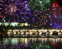 Festive salute over Karlov Bridge, Prague, the Czech Republic Royalty Free Stock Photo