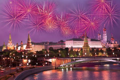 Festive salute over the Kremlin Stock Photography