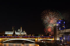 Festive salute over the Kremlin in Moscow Royalty Free Stock Photo