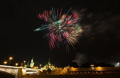 Festive salute over the Kremlin in Moscow Royalty Free Stock Images