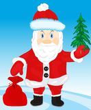 Festive santa with bag gift Royalty Free Stock Images