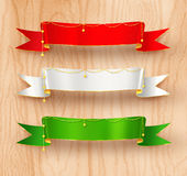 Festive satin ribbon banners Stock Image
