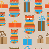 Festive seamless background with cute cats and gifts. Festive seamless background with a cute cats and gifts Royalty Free Stock Photos