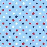 Festive seamless background in national colors USA red white blue. Strips and stars, fireworks Great idea for decorating the holid. Festive seamless background Stock Photo