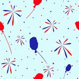 Festive seamless background in national colors USA red white blue. Strips and stars, fireworks Great idea for decorating the holid. Festive seamless background Stock Photography