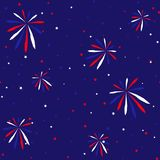 Festive seamless background in national colors USA red white blue. Strips and stars, fireworks Great idea for decorating the holid. Festive seamless background Royalty Free Stock Photo