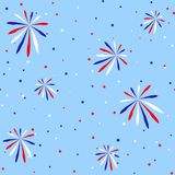 Festive seamless background in national colors USA red white blue. Strips and stars, fireworks Great idea for decorating the holid. Festive seamless background Royalty Free Stock Images
