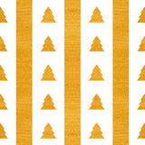 Festive seamless geometric gold textured pattern. Christmas or New year seamless geometric gold textured pattern of stripes and stylized trees on white Stock Photo