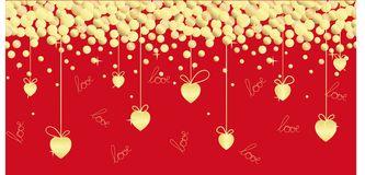 Festive seamless illustration with golden hearts, ribbons, hand lettering on a red background. stock illustration