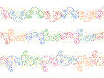 Festive seamless ornament. With colored ribbons and circles Royalty Free Stock Images