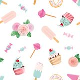 Festive seamless pattent with flowers and sweets in pastel pink and blue. For wedding, birthday, baby shower design. Vector Royalty Free Stock Images
