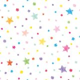 Festive seamless pattern background. Colorful polka dots and stars isolated on white. Vector Stock Image