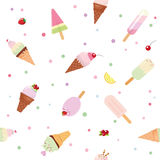 Festive seamless pattern background with paper cutout ice cream cones, fruits and polka dots. For birthday, scrapbook. Kids clothes. Vector EPS10 Royalty Free Stock Photos