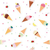 Festive seamless pattern background with paper cutout ice cream cones, fruits and polka dots. For print and web. Vector EPS10 Royalty Free Stock Photography