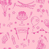 Festive seamless pattern. Birthday seamless pattern elements. Hand drawn set with birthday cake, balloons, gift and festive attributes. Children drawing doodle Royalty Free Stock Photography