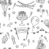 Festive seamless pattern. Birthday seamless pattern elements. Hand drawn set with birthday cake, balloons, gift and festive attributes. Children drawing doodle Royalty Free Stock Photo
