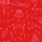 Festive seamless pattern. Birthday seamless pattern elements. Hand drawn set with birthday cake, balloons, gift and festive attributes. Children drawing doodle Royalty Free Stock Photos