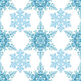 Festive seamless pattern with blue colored snowflakes on white background. Vector illustration Stock Images