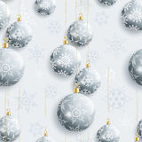 Festive seamless pattern with Christmas balls. Beautiful grey background seamless pattern with Christmas balls and white, gray ornate stylized snowflakes Royalty Free Stock Images