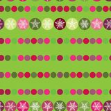 Festive seamless pattern Christmas snowflakes on. The green background Stock Photo