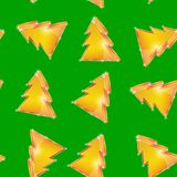 Festive seamless pattern Christmas tree on the. Green background Stock Photo