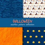 Festive seamless pattern collection. Set of vector Halloween illustration. Blots and scribble textures, holiday symbols and charac. Ters jack o lantern, witch Royalty Free Stock Photo