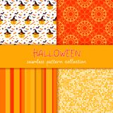 Festive seamless pattern collection. Set of vector Halloween illustration. Stripes, circles, scribble texture, holiday symbols and. Characters jack o lantern Stock Image