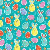 Festive seamless pattern with colored eggs and Easter bunnies. Vector illustration. Usable for design, packaging, wallpaper, texti. Le, card, web Stock Photography