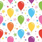 Festive seamless pattern with colorful balloons and confetti. For birthday, baby shower, holidays design. Vector Royalty Free Stock Photos