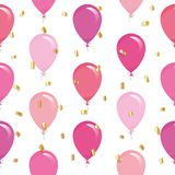 Festive seamless pattern with colorful balloons and glitter confetti. For birthday, baby shower, holidays design. Vector Royalty Free Stock Image