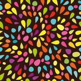Festive seamless pattern with colorful paint splashes in dark background. Vector Stock Photography