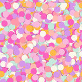 Festive seamless pattern with confectionery sprinkling. Random mess repeated texture of pink, yellow, purple color. Bright and colorful vector background Royalty Free Stock Photos